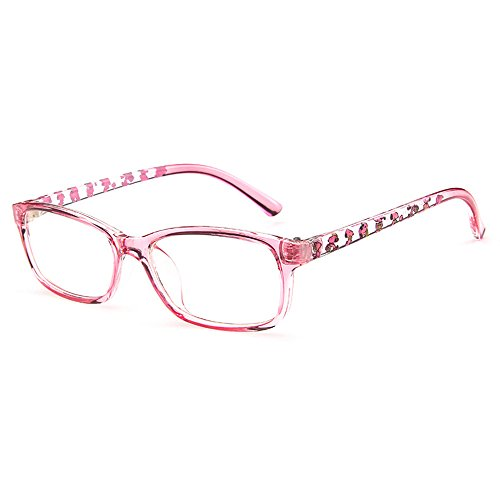 Fantia Unisex Child Non-Prescription Glasses Frame Clear Lens Kids Eyeglasses (3#-Pink)