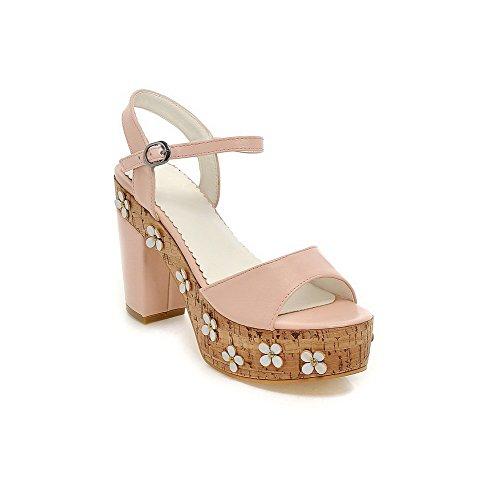 Amoonyfashion Kvinnor Fasta Mjuk Material Kick-häl Spänne Öppen Sandaletter Rosa