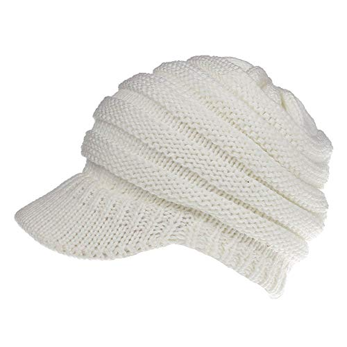 08d063ca6404f KPWIN Ponytail Beanie Women Winter Warm Knit Beanie Hats Messy Bun Ponytail  Visor Hat (White