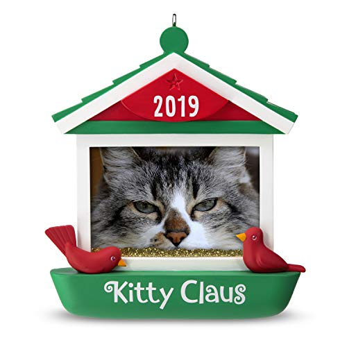 Hallmark Keepsake Christmas 2019 Year Dated, Kitty Claus Cat in Bird Feeder Photo Frame Ornament