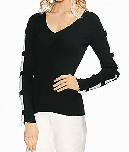 VINCE CAMUTO Womens Small V-Neck Contrast Sweater Black S