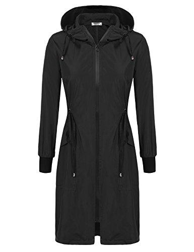 ELESOL Women Waterproof Lightweight Zip Hoodie Raincoat Active Jacket Black XXL
