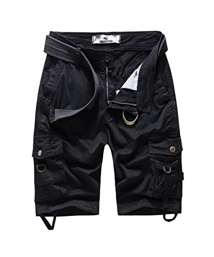 Women's Casual Slim Multi-Pockets Camouflage Twill Bermuda Cargo Shorts with Belt Black US 12 ()