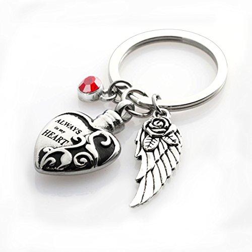 Cremation Urn keychains Always in My Heart Memorial Pendant Keepsake Ash Locket Rose Key Ring Vintage Angel Wing Charm (Always Angel Heart Pendant)