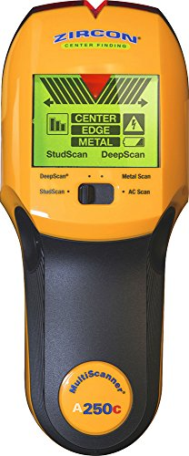 "Zircon Stud Finder Pro 4 in 1 MultiScanner A250c Wall Scanner; 3-color LCD Screen Stud/DeepScan Modes Detect Edges/Center of Wood/Metal to 1 ½"" Metal Mode Lath & Plaster AC Detects Live, Unshielded AC"