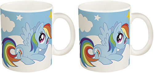 Pony Mug (Set of 2 Porcelain My Little Pony Rainbow Dash Mugs! 11 Oz Novelty Coffee Mug!)
