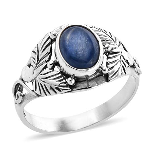 Solitaire Ring 925 Sterling Silver Oval Kyanite Gift Jewelry for Women Size 10 Ct 1.9