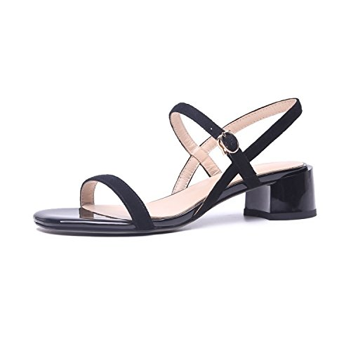 Leather With In Rough Fresh Buckle Sandals Summer ZHANGJIA Open Small black The Toe 6xXqAI