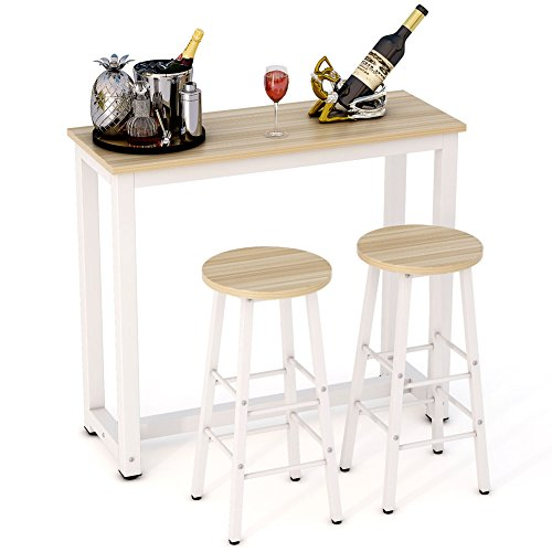 Tribesigns 3-Piece Pub Table Set, Counter Height Dining Table Set with 2 Bar Stools for Kitchen Dining Room Living Room (Walnut)
