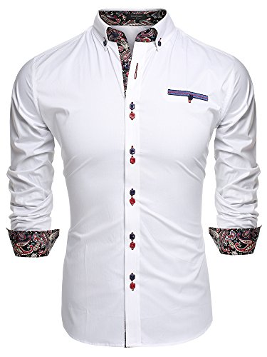 Xtapan men 39 s cotton slim fit casual long sleeve button for Tom s ware mens premium casual inner contrast dress shirt
