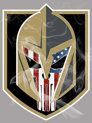 One Stop Nails Golden Knights Logo with American Flag Punisher Wearing Helmet Full Color Sport Fan Vinyl Decal/Sticker. Size: Size: 5