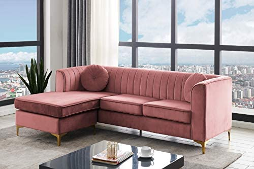 Iconic Home Brasilia Modular Chaise Sectional Sofa Velvet Upholstered Vertical Channel Quilted Seat Back Solid Gold Tone Metal Y-Leg