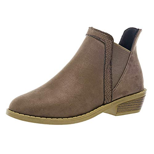 LATINDAY Women's Western Almond Round Toe Slip on Bootie - Low Stack Heel - Zip Up - Casual Ankle Boot Brown from LATINDAY ➜ Shoes Accessory