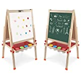Arkmiido Kids Easel Double-Sided Whiteboard & Chalkboard Standing Easel with Bonus Magnetics, Numbers and Other Accessories for Kids and Tollders (48.8 inch)