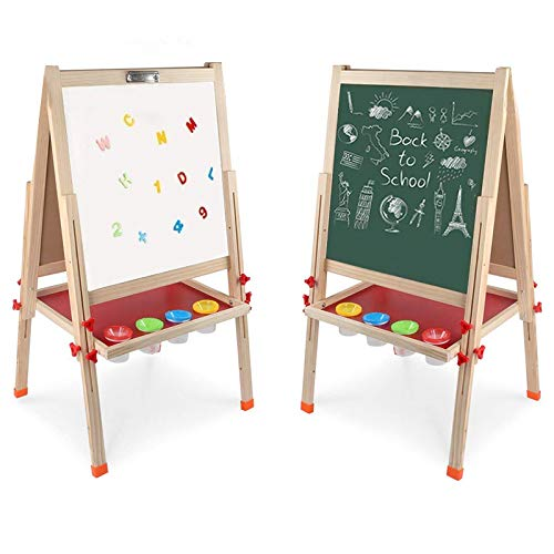 Arkmiido Kids Easel Double-Sided Whiteboard & Chalkboard Standing Easel with Bonus Magnetics, Numbers and Other Accessories for Kids and Tollders (48.8 inch) (Learning Easel)