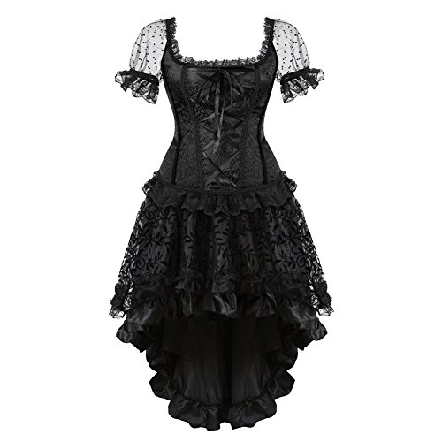 Grebrafan Brocade Overbust Strap Corsets with Fluffy Pleated Layered Tutu Skirt (US(16-18) 4XL, Black) -