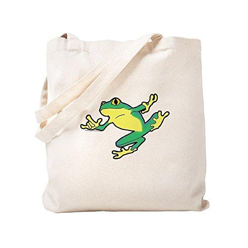 CafePress ASL Frog In Flight Natural Canvas Tote Bag, Cloth Shopping Bag