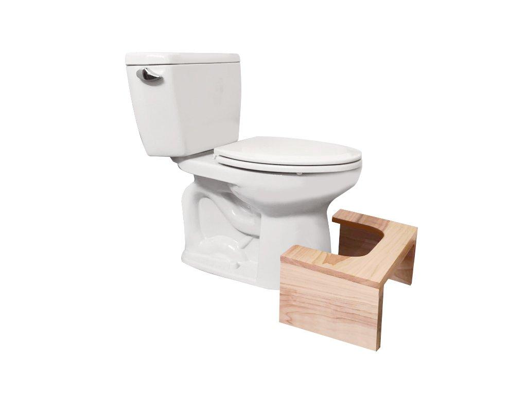 Wooden bathroom Toilet Stool, unfinished mahogany, 18W x 14L x 9Tall