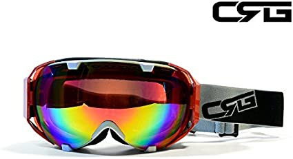 Amazon Com Crg Sports Anti Fog Double Lens Ski Goggles Snow Goggles Snowboard Goggles Grey Frame Adult Crg105 Series Pink Red Revo Sports Outdoors