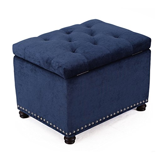 Adeco High End Classy Tufted Accents Rectangular Storage Bench Ottoman Footstool, Blue