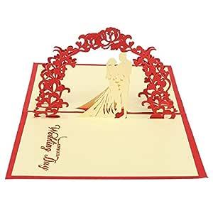 Ogquaton Tarjeta de felicitación de invitación de origami de boda hueca 3D Alta calidad