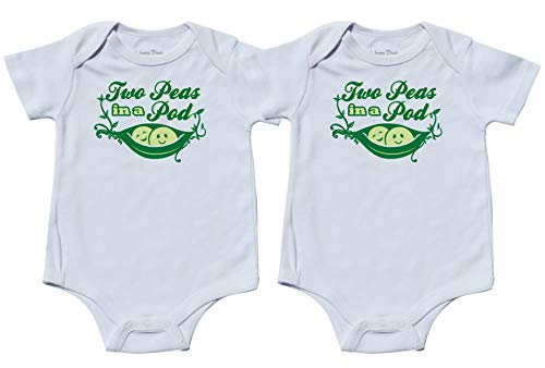 Nursery Decals and More Matching Bodysuits for Twins, Includes 2 Bodysuits, 0-3 Month Pea Pod