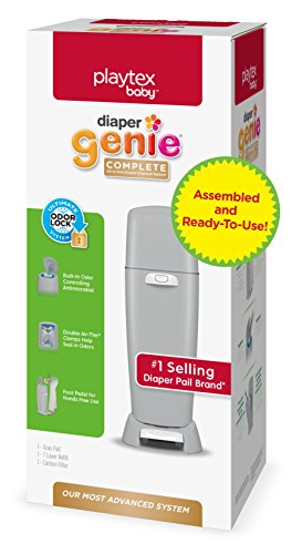 Playtex Diaper Genie Complete Assembled Diaper Pail with Odor Lock Technology & 1 Full Size Refill, Grey (1 pail and 1 refill per unit)