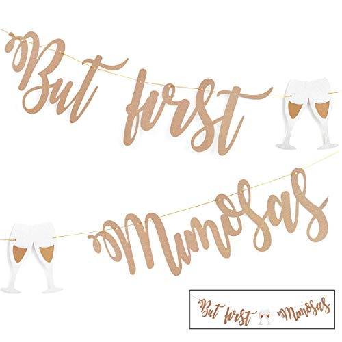 Mimosa Bar Sign But First Mimosas Rose Gold Banner, Decorations for Bridal Shower Baby Shower Bachelorette Party Engagement Wedding Graduation Fiesta Bubbly Bar Champagne Brunch Birthday Party -