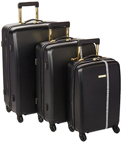 Ninewest 3 Piece Hardside Spinner Luggage Set, Black
