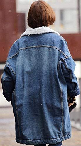 De Laterales Jeans Espesar Larga Mujer Mujeres Moda Blau Manga Gabardina Chaqueta Pecho Abrigo Solapa Battercake Mezclilla Chaquetas Bolsillos Solo Casuales Un Invierno Joven 4qHyES