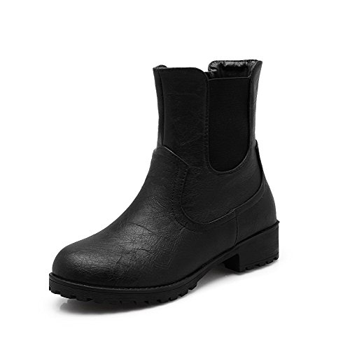 AmoonyFashion Womens Low-Heels Soft Material Low-Top Solid Pull-On Boots Black qfq7Mb