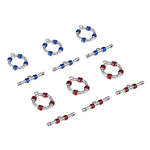 PH PandaHall 10 Sets Toggle Jewelry Clasps Enamel Ring Bracelet Antique Silver Toggle Clasp for Necklace Bracelet Jewelry Making, Blue Red Enamel Antique Silver Toggle Clasp