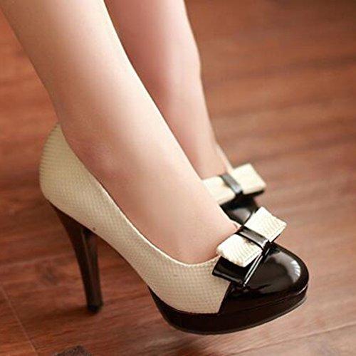 Easemax Mujeres Contrasting Color Bows Round Plataforma De Punta High Chunky Heel Pumps Zapatos Beige