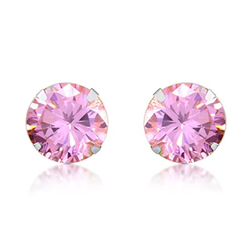 Pink Tourmaline Earrings - 14k Solid Gold 8mm Round Cut Simulated Light Pink Tourmaline Stud Earrings