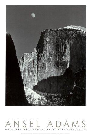 Laminated Moon and Half Dome, Yosemite National Park, 1960 Ansel Adams Poster Print 24x36