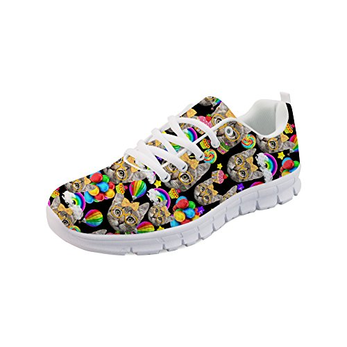 12 Cats Running Cartoon Shoes Women's Walking Flats Casual Sneakers US5 Tennis Nopersonality wzSq4W