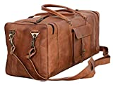 Leather Duffel Bag 28 inch Large Travel Bag Gym Sports Overnight Weekender Bag by Komal s Passion Leather (Brown)