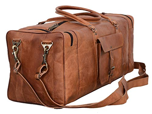 Leather Duffel Bag 28 inch Large Travel Bag Gym Sports Overnight Weekender Bag by Komal s Passion Leather (Brown) (For Bags Leather Weekend Men)