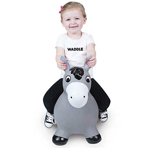 WADDLE Fun Kids Bouncy Toy Hopping Horse Hopper Play Inflatable Jumper Cute Farm Animal Ride On Toys with Hand Pump Toddler and Children Grey Riding Pony Unisex Bouncer Gift for Boys or Girls Lucky