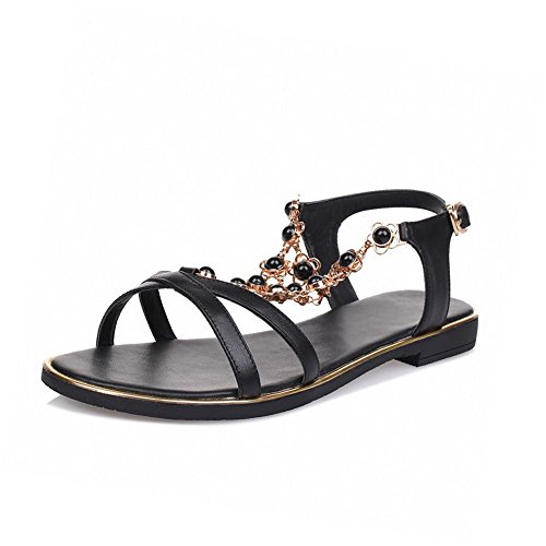 VogueZone009 Women's Open Toe Low-heels Soft Material Solid Buckle Sandals, Black, 39 by VogueZone009