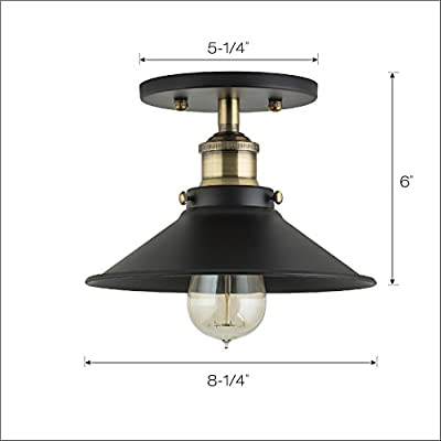 Linea di Liara Andante Industrial Factory Semi Flushmount Ceiling Lamp - One-Light Fixture with Metal Shade Exposed Hardware - 5-Inch Canopy - Downlight Modern Vintage LL-C407