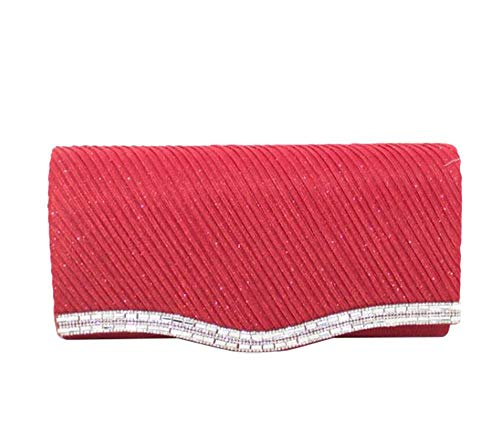 Diamante Clutch Detail Bag Diva Grey for Shimmery Haute Red XZqEn