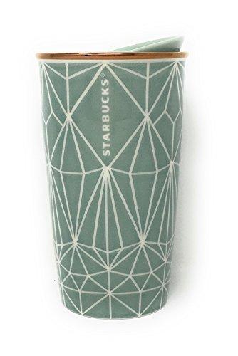 Starbucks Holiday Traveler 12oz Double Wall Ceramic 2017 Green Diamond