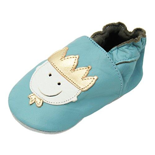 Lappa.de - Zapatillas de piel para niños (suela de ante, tallas de la 17 a la 31), diseño de príncipe, color azul