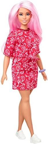 Barbie Fashionistas Doll with Long Pink Hair Wearing a Red Paisley Top & Skirt, White Sneakers & Scrun