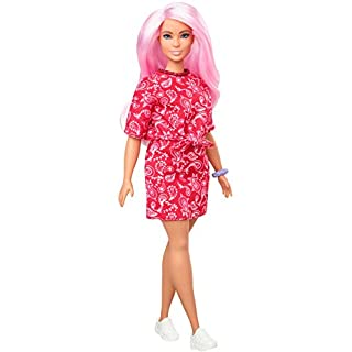 Barbie Fashionistas Doll with Long Pink Hair Wearing a Red Paisley Top & Skirt, White Sneakers & Scrunchie Bracelet, Toy for Kids 3 to 8 Years Old