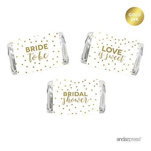 Andaz Press Metallic Gold Confetti Polka Dots Party Collection, Hershey's Miniatures Chocolates Labels Stickers, Bridal Shower, 36-Pack (Bridal Miniatures)