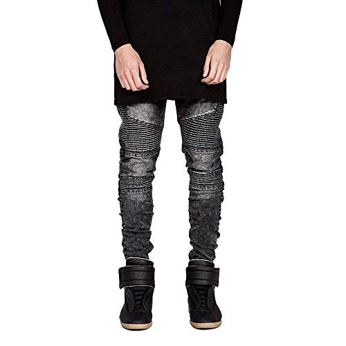 Stretch Biker Fit Da Grau Slim Giovane Destroyed Lavato In Denim Uomo Look Jeans Skinny Pants wqBaHHtf