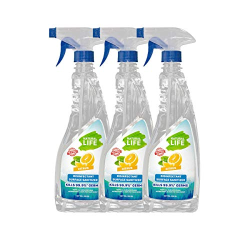 NATURAL LIFE FDA Approved Disinfectant Surface Sanitizer, Multi-Surface Degreaser, Non Toxic, Baby & Pet Safe, Kills 99…