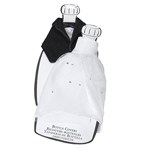 High-Quality Bottle Cover Set Made of Satin, Velvet, Tulle, Rhinestones